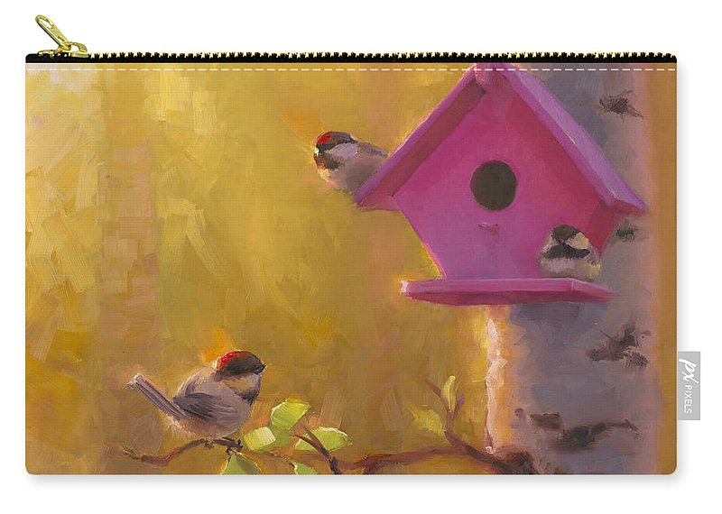 Chickadee Carry-all Pouch featuring the painting Spring Chickadees 1 - Birdhouse And Birch Forest by Karen Whitworth
