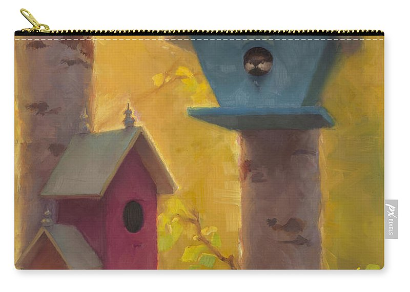 Chickadee Carry-all Pouch featuring the painting Spring Chickadees 2 - Birdhouse And Birch Forest by Karen Whitworth
