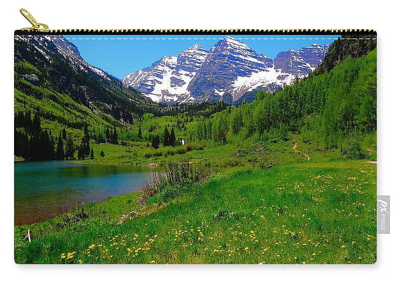 Spring Color In Maroon Bells Carry-all Pouch featuring the photograph Spring Colors In Maroon Bells by Dan Sproul