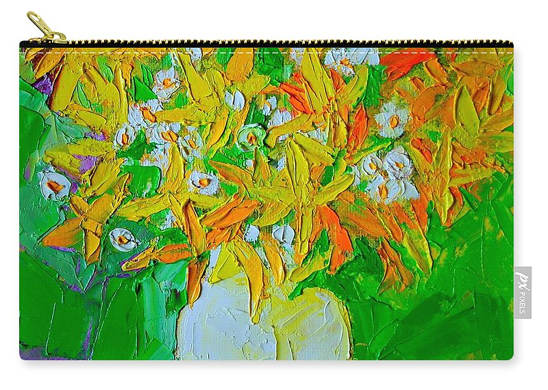Forsythia Carry-all Pouch featuring the painting Spring Flowers by Ana Maria Edulescu
