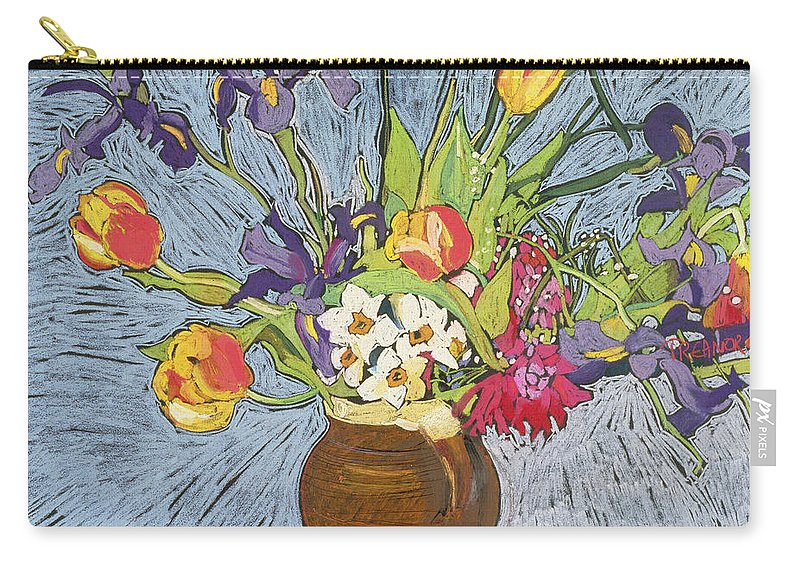 Vase Carry-all Pouch featuring the painting Spring Flowers by Frances Treanor