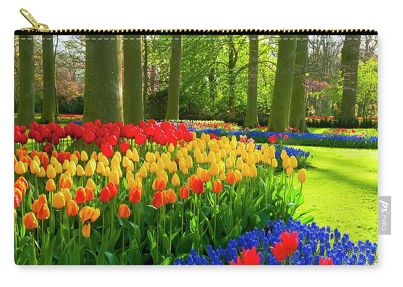 Flowerbed Carry-all Pouch featuring the photograph Spring Flowers In A Park by Jacobh