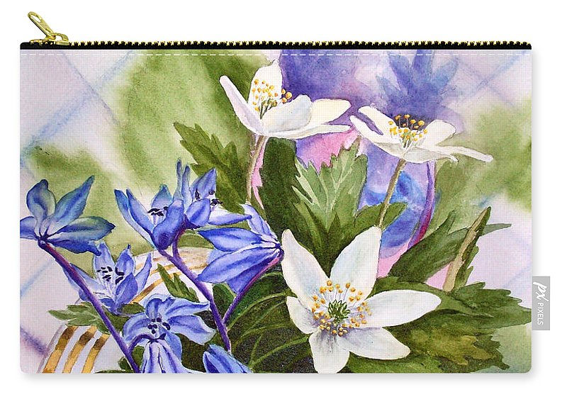 Flowers Carry-all Pouch featuring the painting Spring Flowers by Irina Sztukowski
