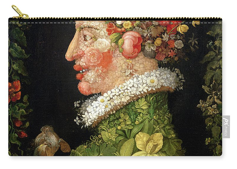 Arcimboldo Carry-all Pouch featuring the painting Spring, From A Series Depicting The Four Seasons by Giuseppe Arcimboldo