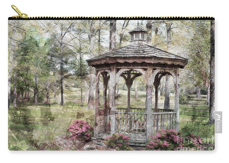 Nature Carry-all Pouch featuring the photograph Spring Gazebo Painteffect by Debbie Portwood