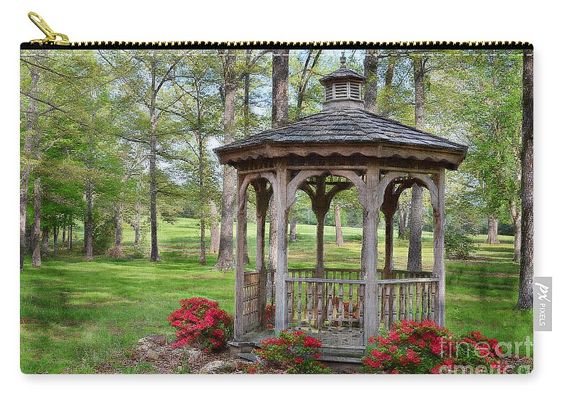 Nature Carry-all Pouch featuring the photograph Spring Gazebo Pastel Effect by Debbie Portwood