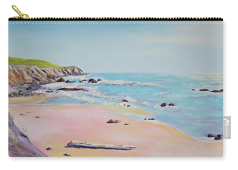 Seascape Painting Carry-all Pouch featuring the painting Spring Hills And Seashore At Bowling Ball Beach by Asha Carolyn Young