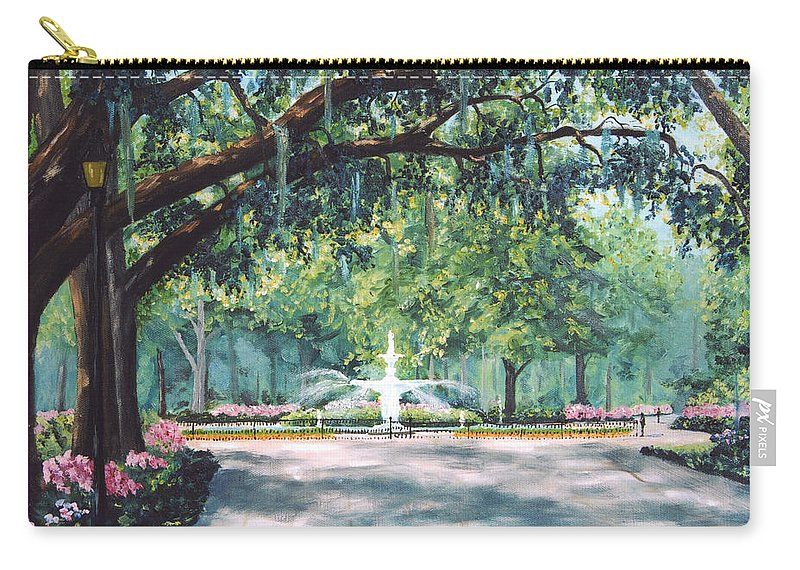 Savannah Carry-all Pouch featuring the painting Spring In Forsythe Park by Stanton Allaben
