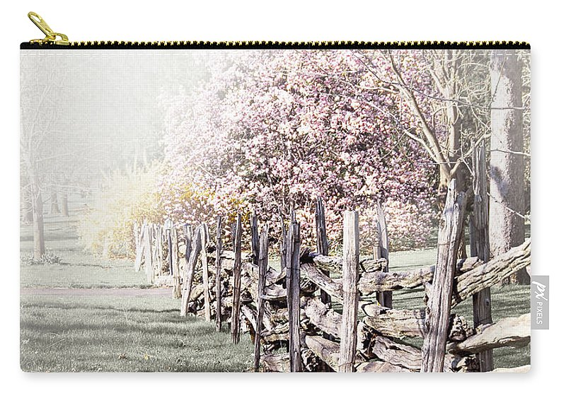 Landscape Carry-all Pouch featuring the photograph Spring Landscape With Fence by Elena Elisseeva