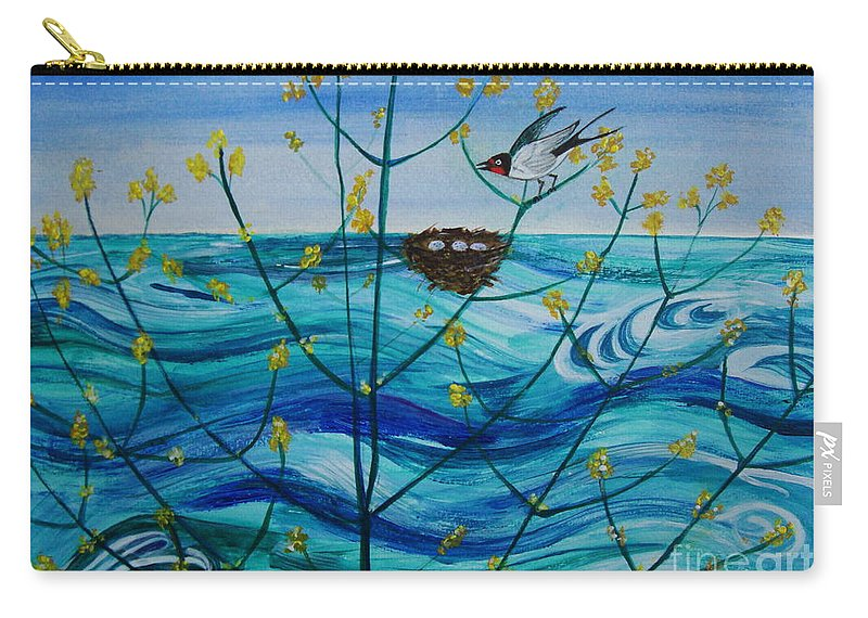 Water Carry-all Pouch featuring the painting Spring On Lake Ontario by Veronica Rickard