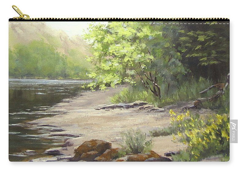 Spring Carry-all Pouch featuring the painting Spring On My Mind by Karen Ilari