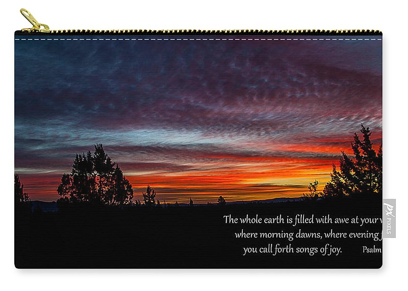Sunrise Carry-all Pouch featuring the photograph Spring Peaceful Morning Sunrise Bible Verse Photography by Jerry Cowart