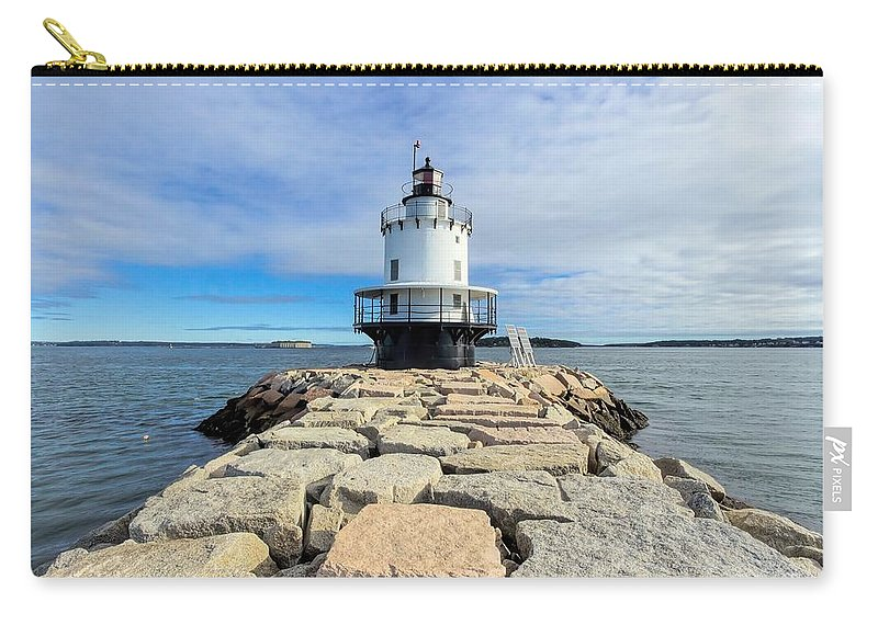 Spring Point Ledge Light Carry-all Pouch featuring the photograph Spring Point Ledge Light by Jenny Hudson