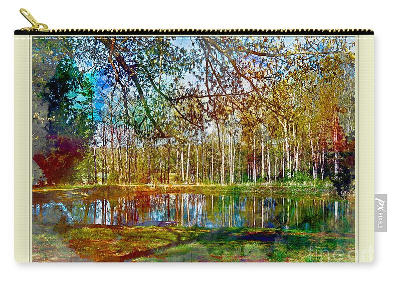 Nature Carry-all Pouch featuring the photograph Spring Pond Photoart Father's Day by Debbie Portwood