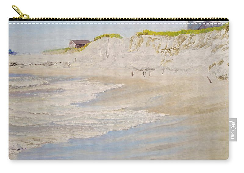Seascape Carry-all Pouch featuring the painting Spring Tide After Sandy by Lea Novak
