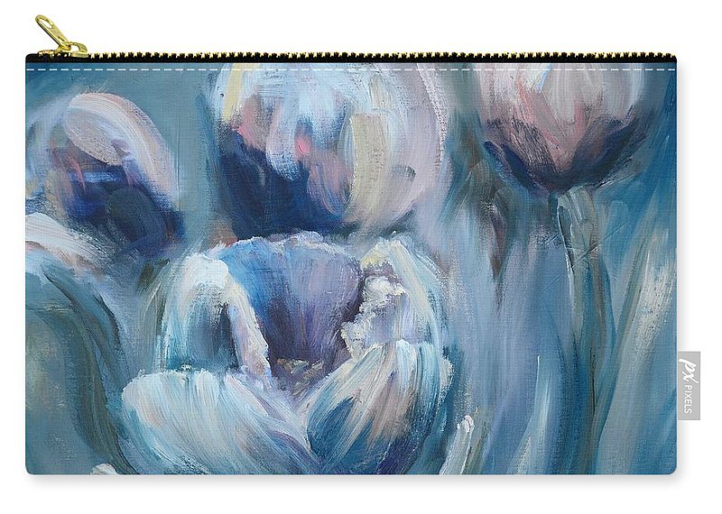 Impasto Carry-all Pouch featuring the painting Spring Tulips by Donna Tuten