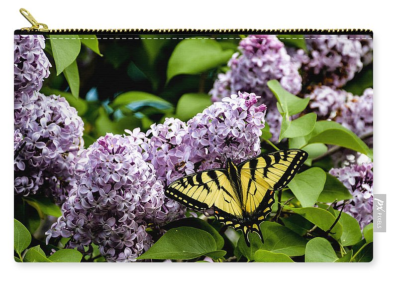 Lavender Lilac Carry-all Pouch featuring the photograph Springtime Lilac And Butterfly by Sherman Perry