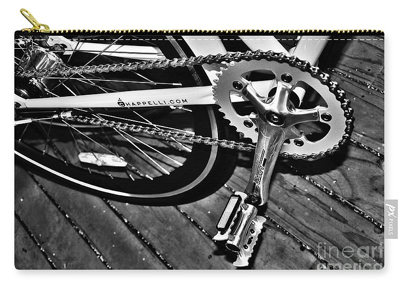 Photography Carry-all Pouch featuring the photograph Sprocket And Chain - Black And White by Kaye Menner