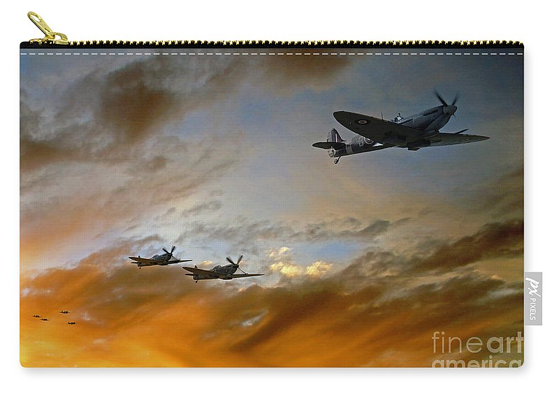 Supermarine Spitfire Carry-all Pouch featuring the digital art Squadron Scramble by J Biggadike