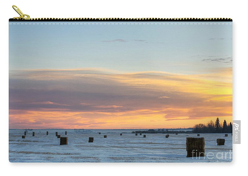 Sunset Carry-all Pouch featuring the photograph Square Bales by Shannon Carson