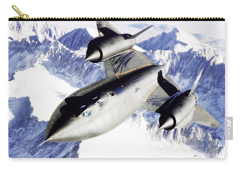 Sr-71b Carry-all Pouch featuring the photograph Sr-71 Over Snow Capped Mountains by R Muirhead Art