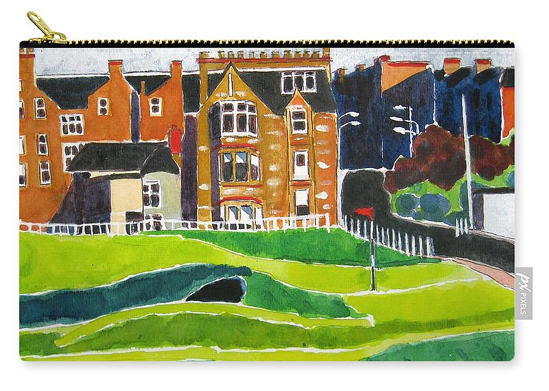 St Andrews Carry-all Pouch featuring the painting St Andrews 17 by Lesley Giles