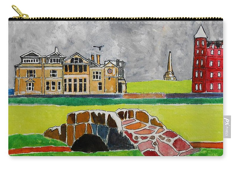 St Andrews Carry-all Pouch featuring the painting St Andrews Swilcan Bridge by Lesley Giles