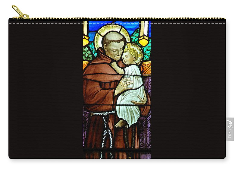 Saint Carry-all Pouch featuring the digital art St Anthony In Stained Glass by Philip Ralley