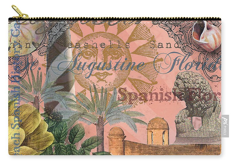 Doodlefly Carry-all Pouch featuring the digital art St. Augustine Florida Vintage Collage by Mary Hubley