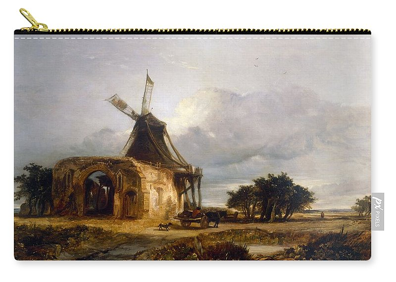 St Carry-all Pouch featuring the painting St Benets Abbey And Mill, Norfolk, 1833 by William James Muller