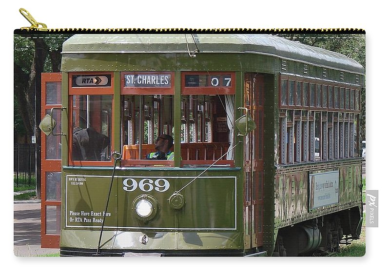 Streetcar Carry-all Pouch featuring the photograph St Charles Line by Margaret Bobb
