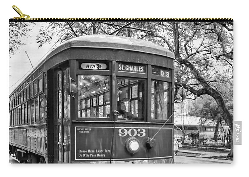 Nola Carry-all Pouch featuring the photograph St. Charles Streetcar 2 Bw by Steve Harrington