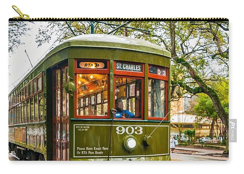 Nola Carry-all Pouch featuring the photograph St. Charles Streetcar 2 by Steve Harrington