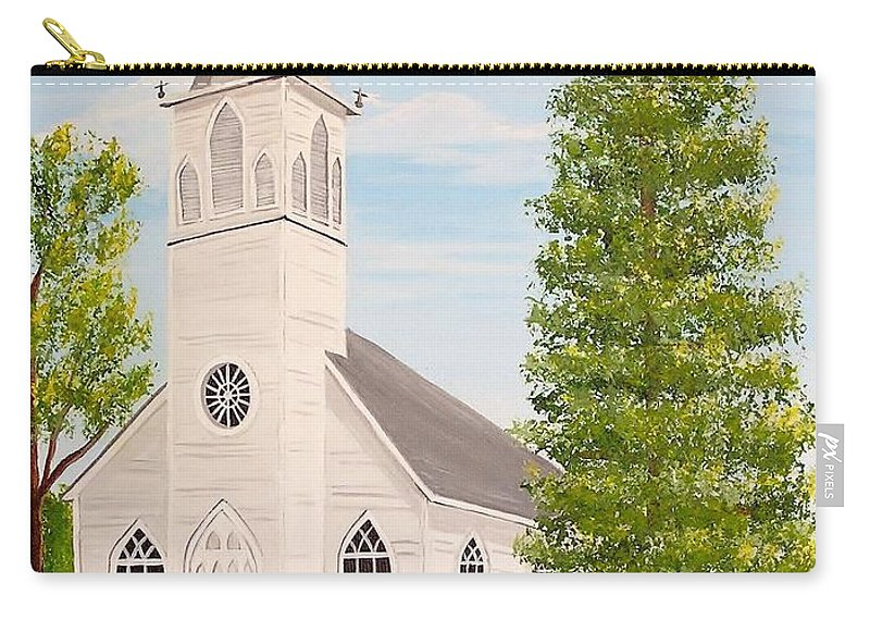 Church Carry-all Pouch featuring the painting St. Gabriel The Archangel Roman Catholic Church by Valerie Carpenter