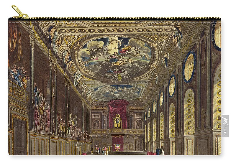 Long Gallery Carry-all Pouch featuring the drawing St. Georges Hall, Windsor Castle by Charles Wild