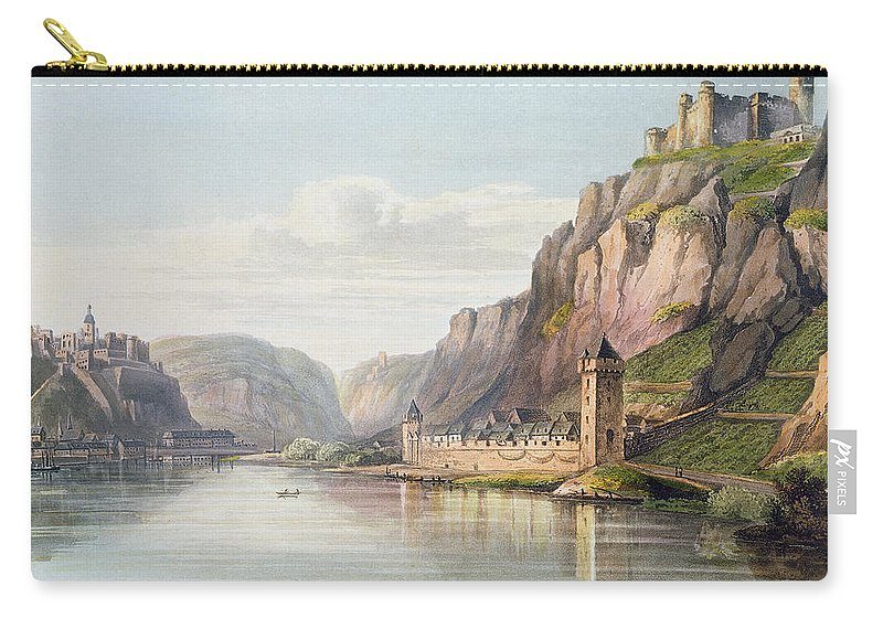River Carry-all Pouch featuring the drawing St. Goarshausen, St. Goar by Christian Georg II Schutz or Schuz