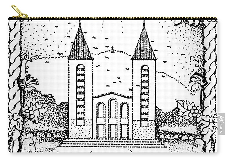 Saint Carry-all Pouch featuring the drawing St James And Dove by Christina Verdgeline