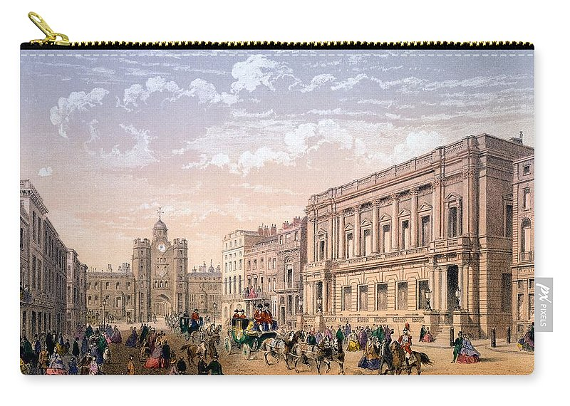 St James Palace Carry-all Pouch featuring the drawing St James Palace And Conservative Club by Achille-Louis Martinet