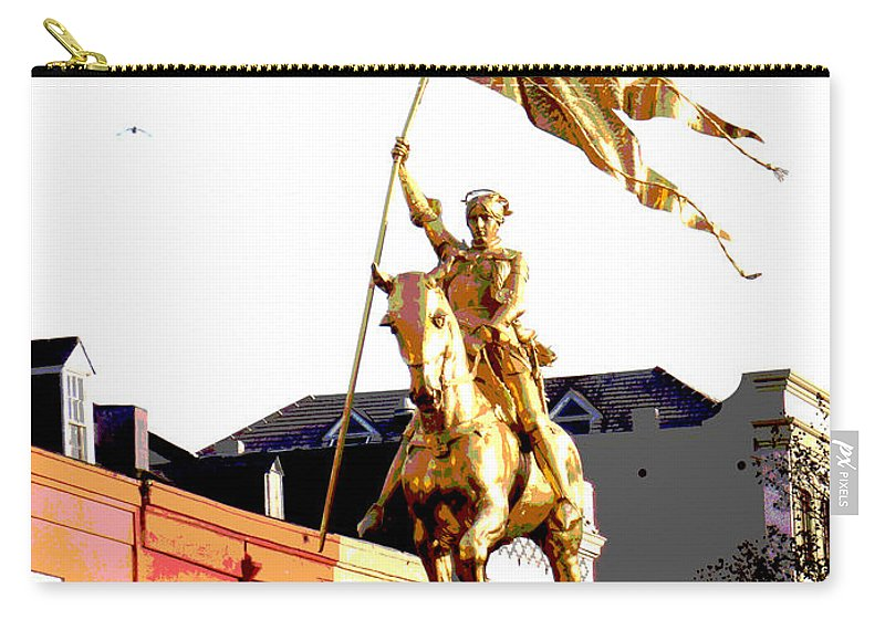 Digital Carry-all Pouch featuring the digital art St Joan Of Arc Statue At Dawn by Alys Caviness-Gober