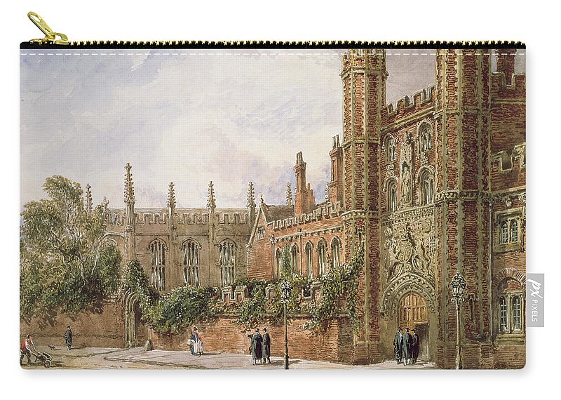 30 7 X 21 3cm Carry-all Pouch featuring the painting St. Johns College, Cambridge, 1843 by Joseph Murray Ince