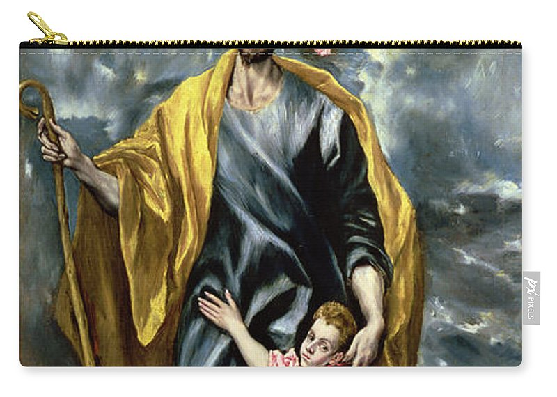 El Greco Carry-all Pouch featuring the painting Saint Joseph And The Christ Child by El Greco