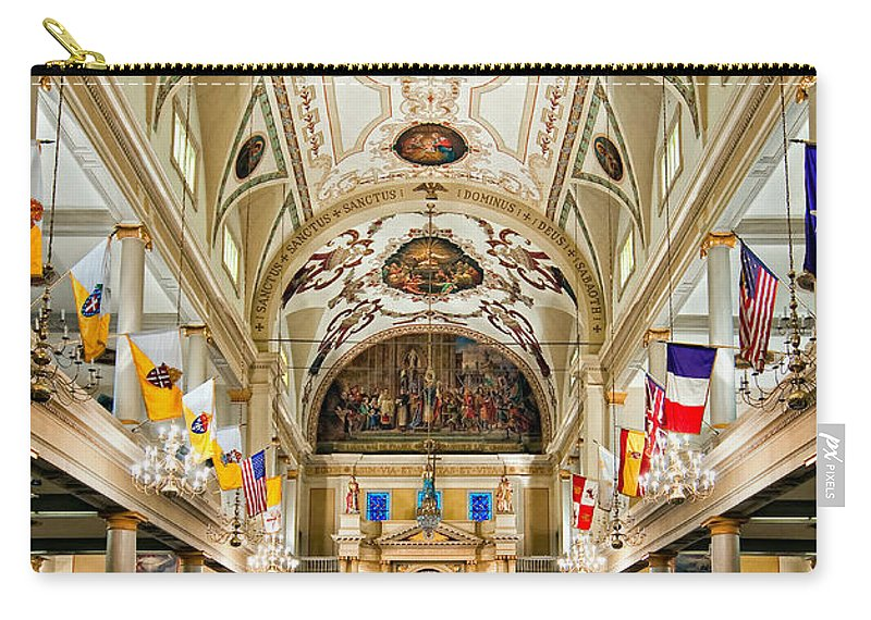 French Quarter Carry-all Pouch featuring the photograph St. Louis Cathedral by Steve Harrington