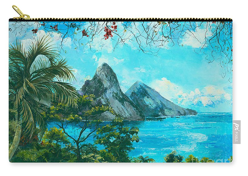 Mountains Carry-all Pouch featuring the painting St. Lucia - W. Indies by Elisabeta Hermann