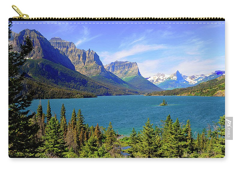 Scenics Carry-all Pouch featuring the photograph St. Mary Lake, Glacier National Park by Dennis Macdonald
