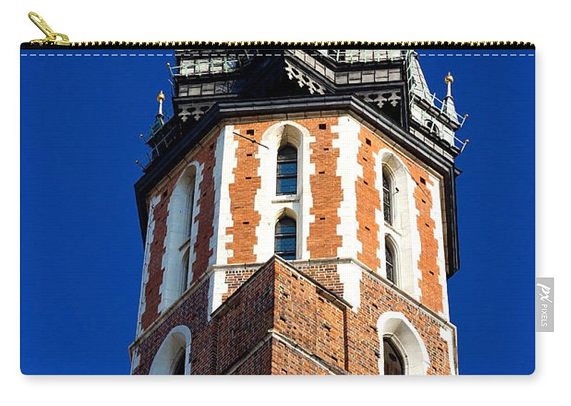 Blue Carry-all Pouch featuring the photograph St. Mary's Church Tower by Pati Photography