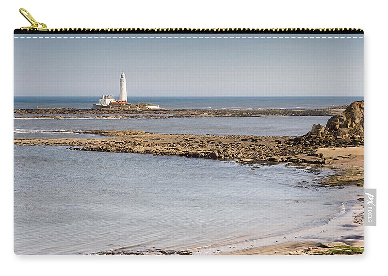 St Marys Lighthouse Carry-all Pouch featuring the photograph St Marys Lighthouse Across Sandy Bay by David Head