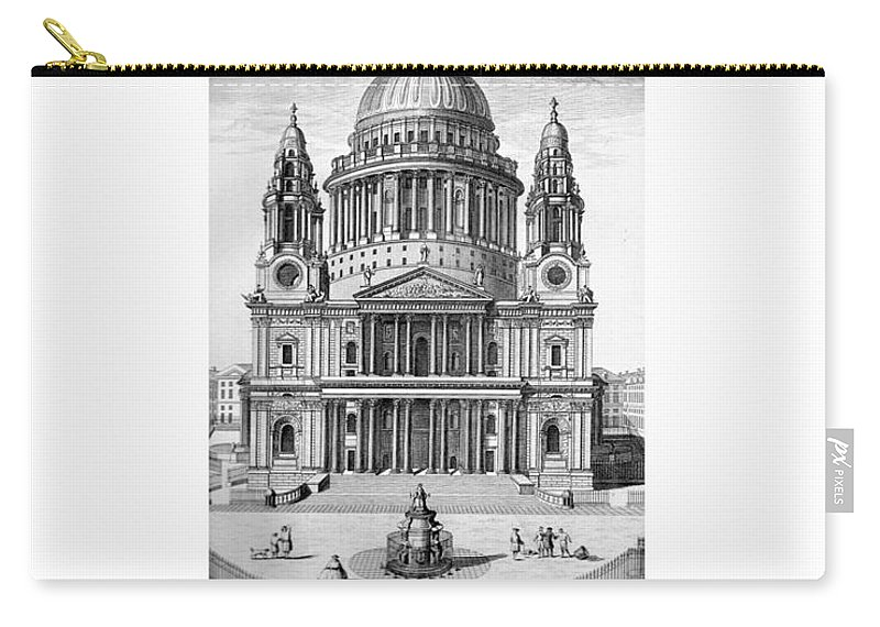 Anglican Carry-all Pouch featuring the digital art St. Paul Cathedral - London - 1792 by John Madison