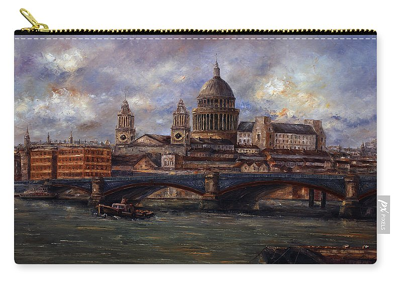 St. Paul's. St. Paul's Cathedral Carry-all Pouch featuring the painting St. Paul's Cathedral - London by Miroslav Stojkovic - Miro