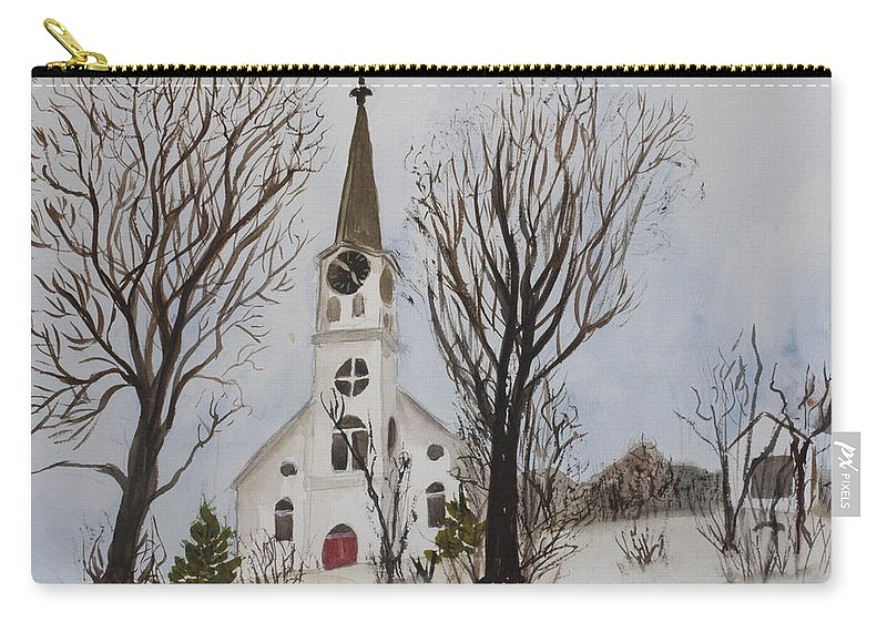 St. Pauls Carry-all Pouch featuring the painting St. Pauls Church In Barton Vt In Winter by Donna Walsh