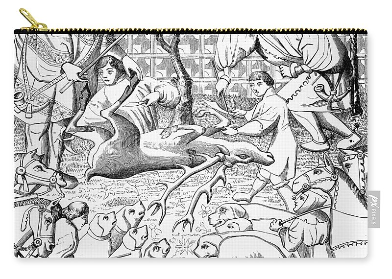 15th Century Carry-all Pouch featuring the painting Stag Hunters, 15th Century by Granger